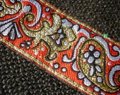 5 Yard  ribbon jacquard woven with a cheerful pattern of Paisley and square