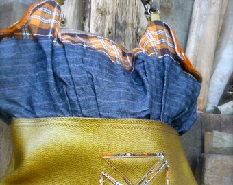 Flap Tote, handmade bag, gold leather , wool, tartan, vintage buttons, one of a kind bag, neo hippie, short straps, grey linen