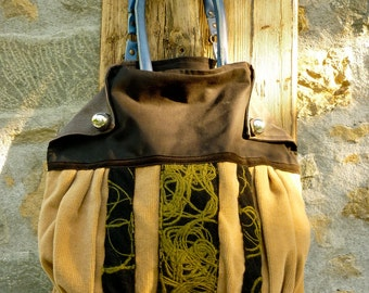 Large Tote Bag on Wool and Leather with leather flaps and felt applications Handmade One of a Kind