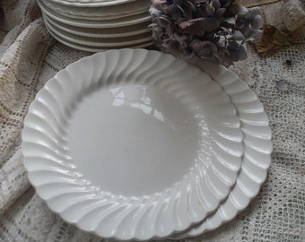 White Ironstone Plate JB 10 inch Dinner Plate Pair