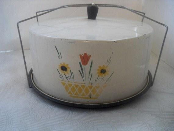 For Emillee Retro Cake Taker Tin Yellow Basket Red Flowers Carlton