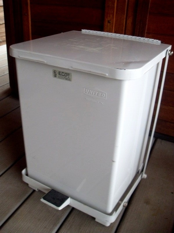 Vintage White Enamel Industrial Trash Recycle Garbage Can With