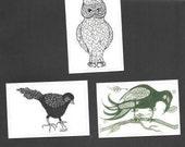 Three Birds, A Set of Nine Stickers