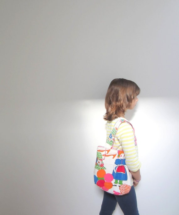 Tote OOAK Kids size tote Library bag VINTAGE canvas bubynoa Essentials