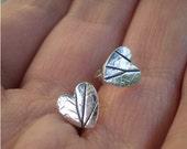 Leaf Print Silver Studs