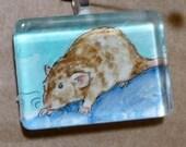 Lovely Agouti Rex Dumbo Rat OOAK Watercolor Pendant Wearable Art