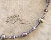Chocolate Pearl Swarovski Crystal Glass Beaded Anklet Ankle Bracelet