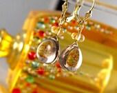 Solid gold jewelry 14K solid gold earrings Smoky Quartz Smokey Topaz Citrine - autumn fall harvest women fashion luxury gemstone style - Eos