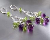Chandelier earrings Amethyst Peridot earrings sterling silver -  fine jewelry chandeliers purple violet lime green wedding ohtteam - Domani