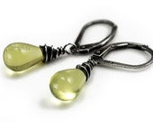Lemon Quartz earrings oxidized sterling silver - rustic jewelry autumn wedding fall fashion yellow earrings lime green gemstone oht - Eliza