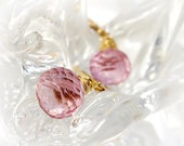 Pink earrings Pink Quartz earrings 14K gold filled - pink jewelry wedding jewelry bridesmaid rose shabby chic romance Valentines day - Fanny