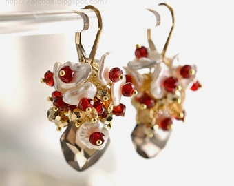 Gold jewelry Smoky Quartz Citrine Pyrite Keshi pearls Garnet gold earrings - gold gemstone burgundy red pomegranate garnet earrings - Lanlea