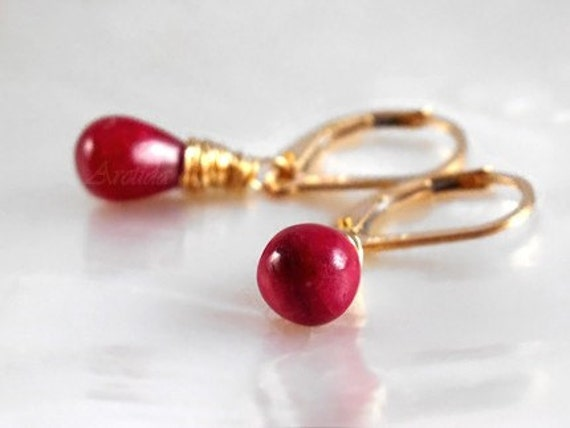 Blood red Ruby earrings 14K gold filled wire wrapped - Eliza