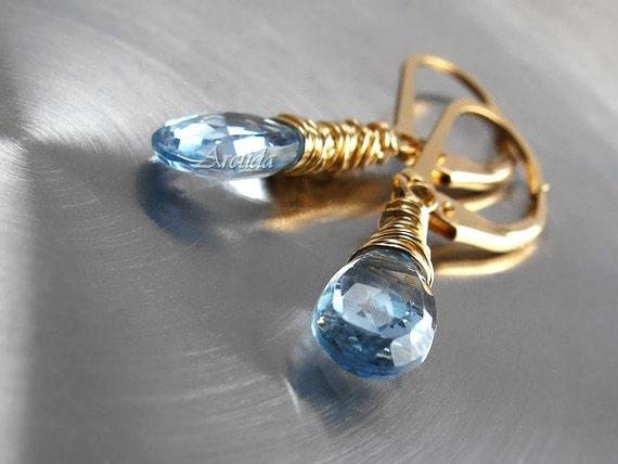 Blue earrings Blue Topaz earrings 14K gold filled - winter wedding december birthstone women fashion turquoise aquamarine gemstone - Naiada