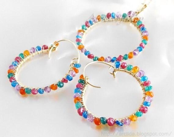 Hoop earrings birthstone earrings gemstone gold hoops - personalized jewelry customized multicolored hoops - Thespia