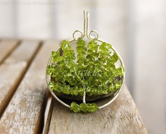 Silver Lime Wood ~ Statement jewelry tree of life necklace peridot by arctida