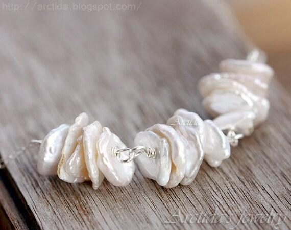 Wedding jewelry Keshi pearl necklace sterling silver - wedding necklace Keishi bridal jewelry white Keshi pearl jewelry set - Leia