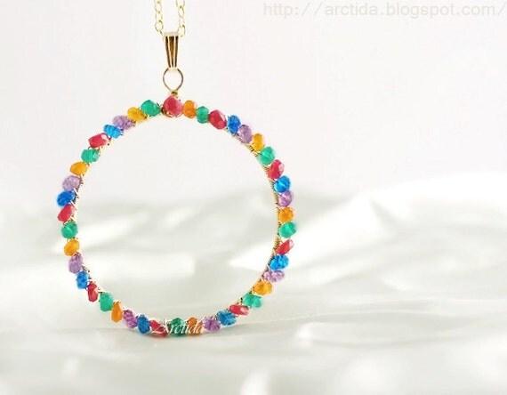 Gemstone jewelry Gemstone necklace circle pendant customized birthstone necklace personalized jewelry - Thespia