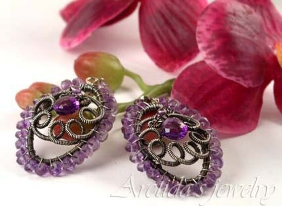 Art Nouveau style Ornate wire wrapped oxidized Sterling Silver leverback earrings with Amethyst OOAK - Niolle