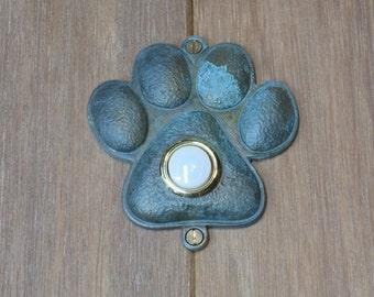Verdigris Pawprint Doorbell