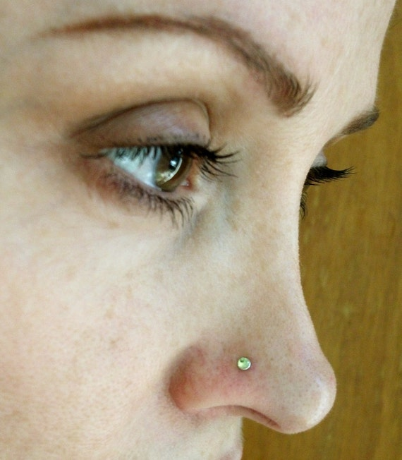 Peridot Sterling Silver Nose Stud / Free US Shipping