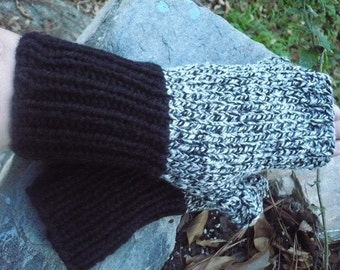 Black and White, fingerless gloves,  --- medium