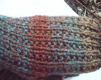 Brown Teal fingerless gloves --- small to medium