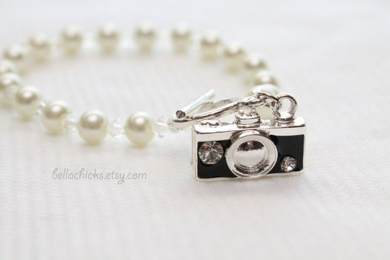RESERVED for Katelynn Davis The Memory Keeper camera charm glass pearl bracelet wedding photographer gift