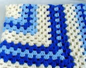 Blue and Cream  Crochet Lap Blanket Afghan