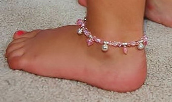 Sterling Jingle Bells and  Pink Hearts Child's Ankle Bracelet