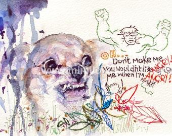 Chihuahua art print A4. Angry growling dog, ready to frame