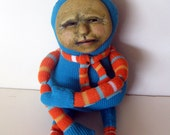 Winter Art Doll OOAK cloth and clay mixed media soft figure