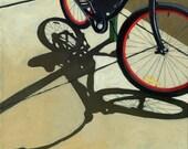 Bicycle art RED WHEELS bike art print from original oil painting