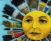 Sun Artist Brushes art print shown on CBS Sunday Morning Show