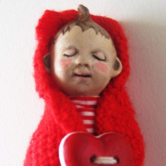 Little BABY BUNTING LOVE ooak art doll assemblage mixed media