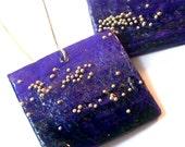 Square papier mache earrings - purple - FREE SHIPPING