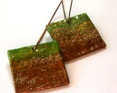 Square papier mache earrings - green and copper - FREE SHIPPING