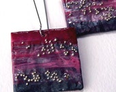 Square papier mache earrings - red and gray - FREE SHIPPING