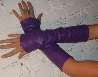 Purple leather Sleeves
