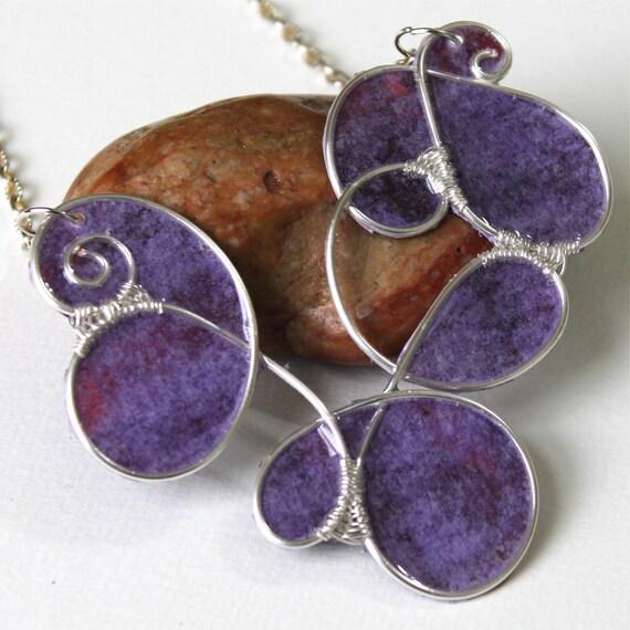 Paper & Plastic Large Purple Neck Piece - Big Pendant Necklace - Wire Sculpture Statement Necklace - Lightweight