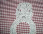 Cream Crocheted Kitchen Towel Holder