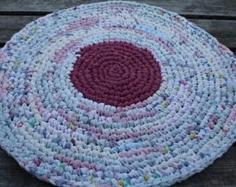 "Crocheted  Rag Rug  26"" Round  Raspberry and Flowers"