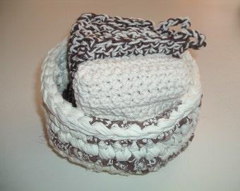 Crocheted Brown and Cream Rag Rug Bowl with Potholders and Dishcloths