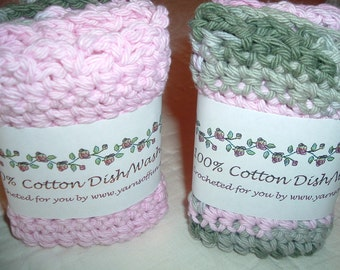 Crocheted Washcloths  Set of 2  Pink and Grays