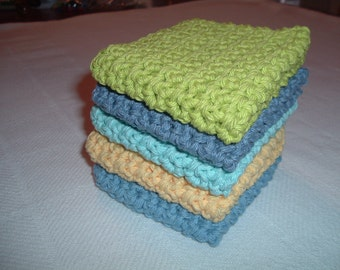 Crocheted Set of 5 All Cotton Wash/dishcloths