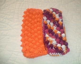 Set of 2 Crocheted Cotton Dry Swiffer Covers  Orange Purple