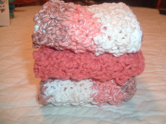 Crocheted  Bubble Washcloths  Set of 3   Harvest