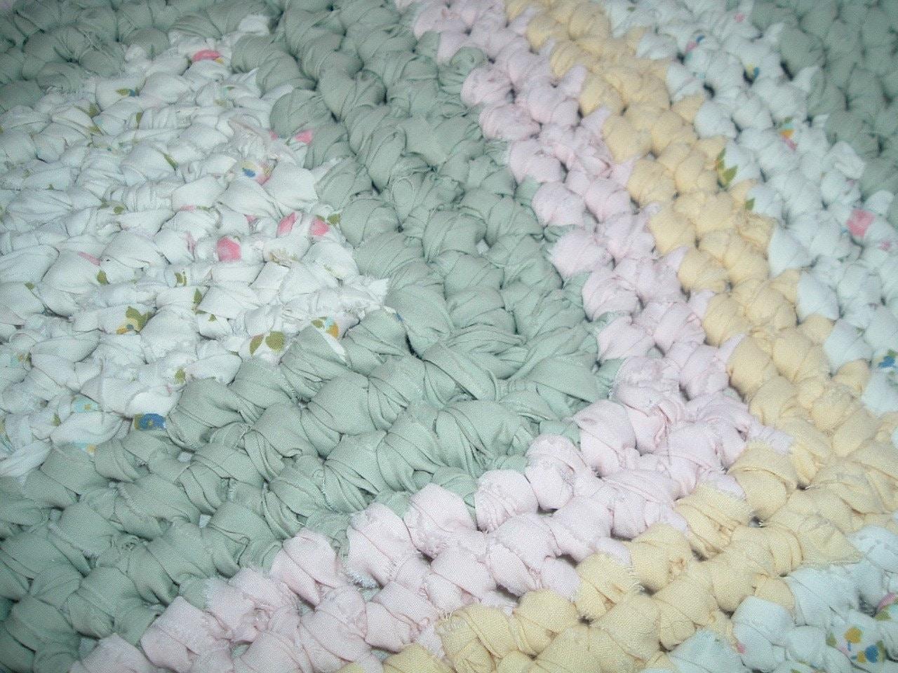 Crocheted Rectangular Shabby Chic Rag Rug Pinks Greens