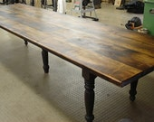 Huge Farm Table with Turned Legs.
