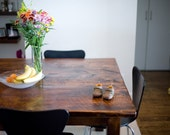 Square Farm Table Made from Salvaged Boards